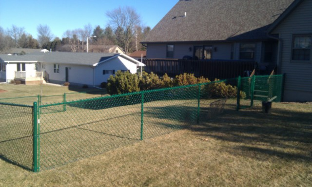 Green Chain link Fence  in  January 2012